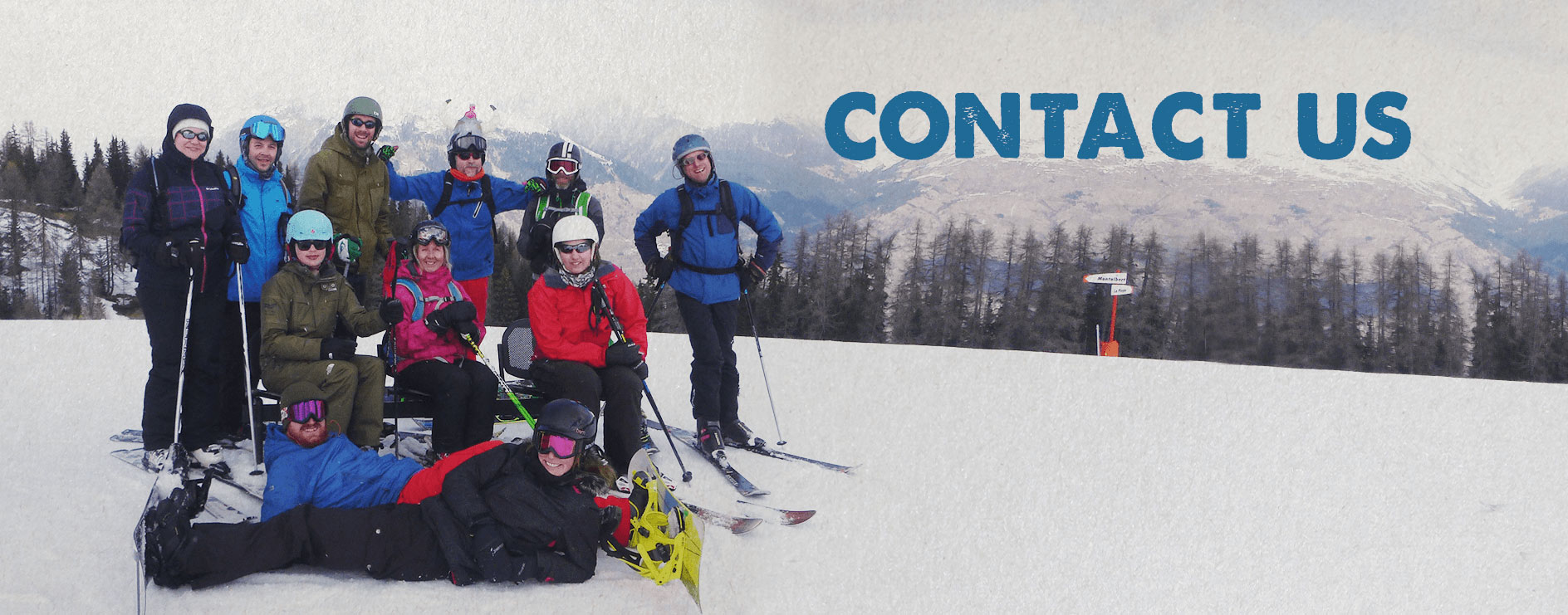 Group of Ski Club members on holiday in the Alps