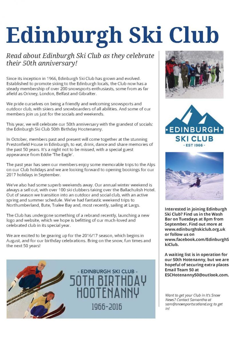 Club feature in Snowsport Scotland newsletter